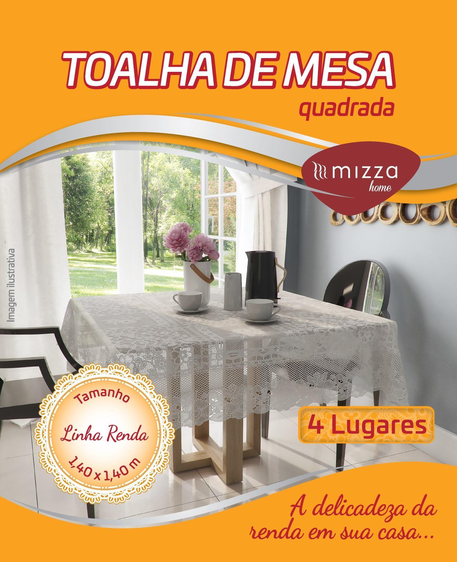 TOALHA DE MESA EM RENDA QUADRADA 4 LUG.