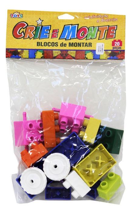 CRIE E MONTE C/20 PCS BLOCO DE MONTAR