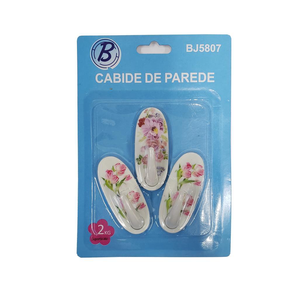 GANCHO DE PLASTICO P/PAREDE C/3 UN