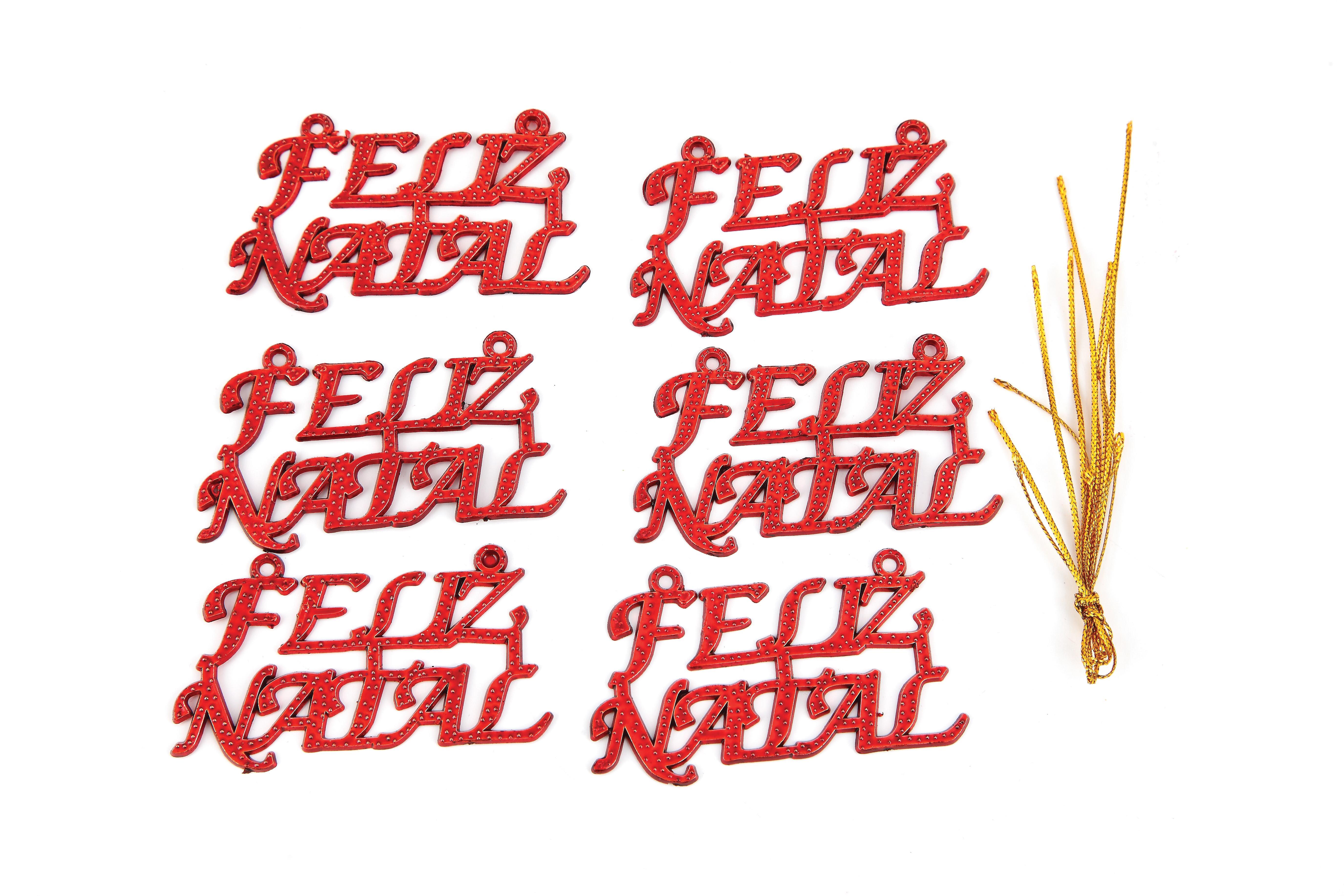 ENFEITE FELIZ NATAL C/3 UN  7X,3
